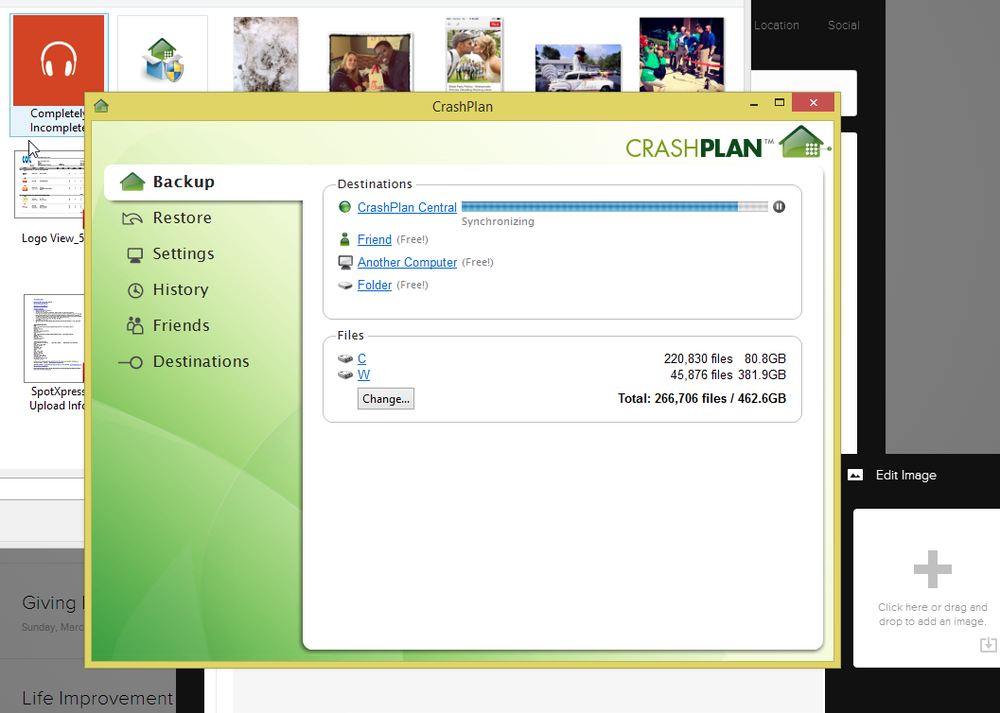 A screenshot of CrashPlan doing its thing!