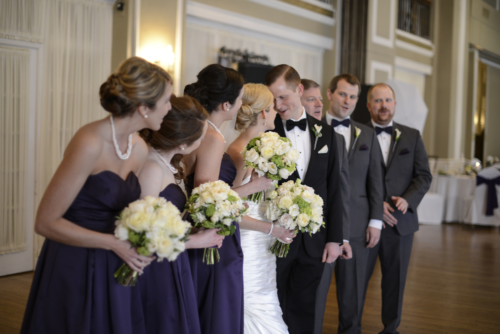 Bridal party in Yorktowne Hotel, Lancaster, Pennsylvania