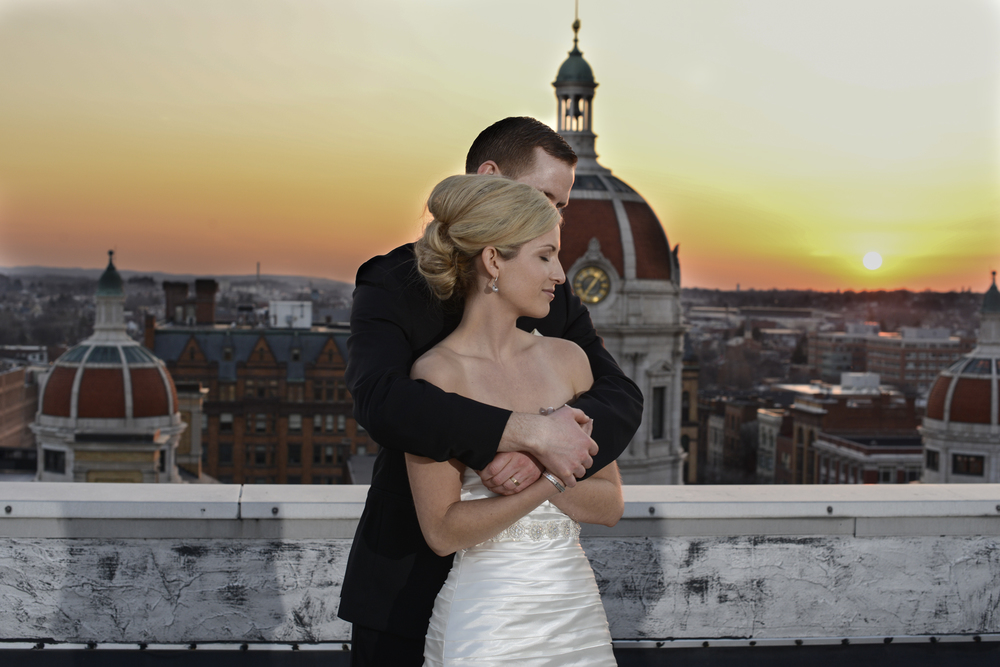 Bride and groom on roof in  Yorktowne Hotel, Lancaster, Pennsylvania