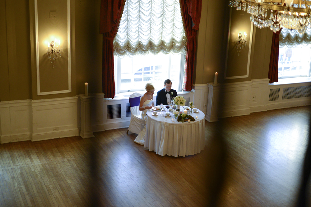 wedding reception in Yorktowne Hotel, Lancaster, Pennsylvania