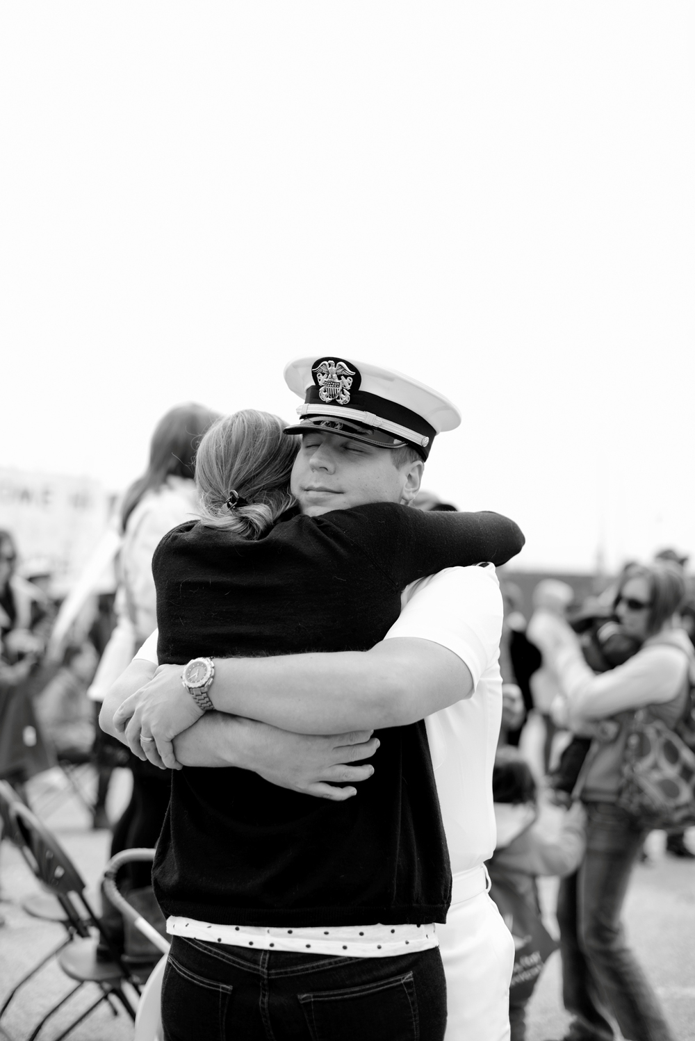A husband and wife are reunited after a 9 month deployment | USS Truman naval military homecoming | Maria Grace Photography