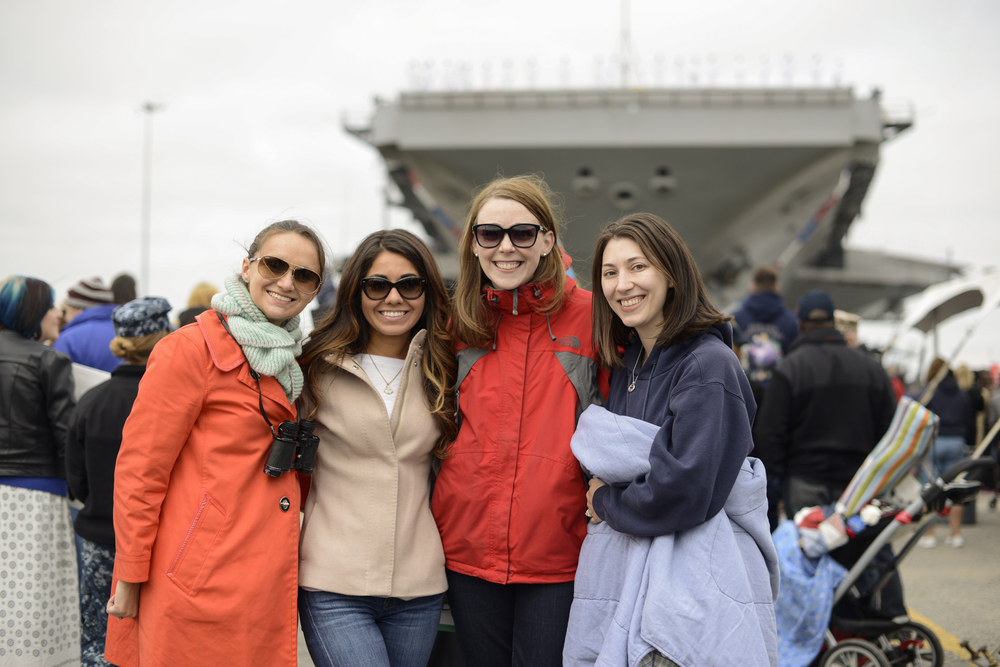 Wives wait for their husbands after a 9 month deployment | USS Truman Navy Military Homecoming | Maria Grace Photography