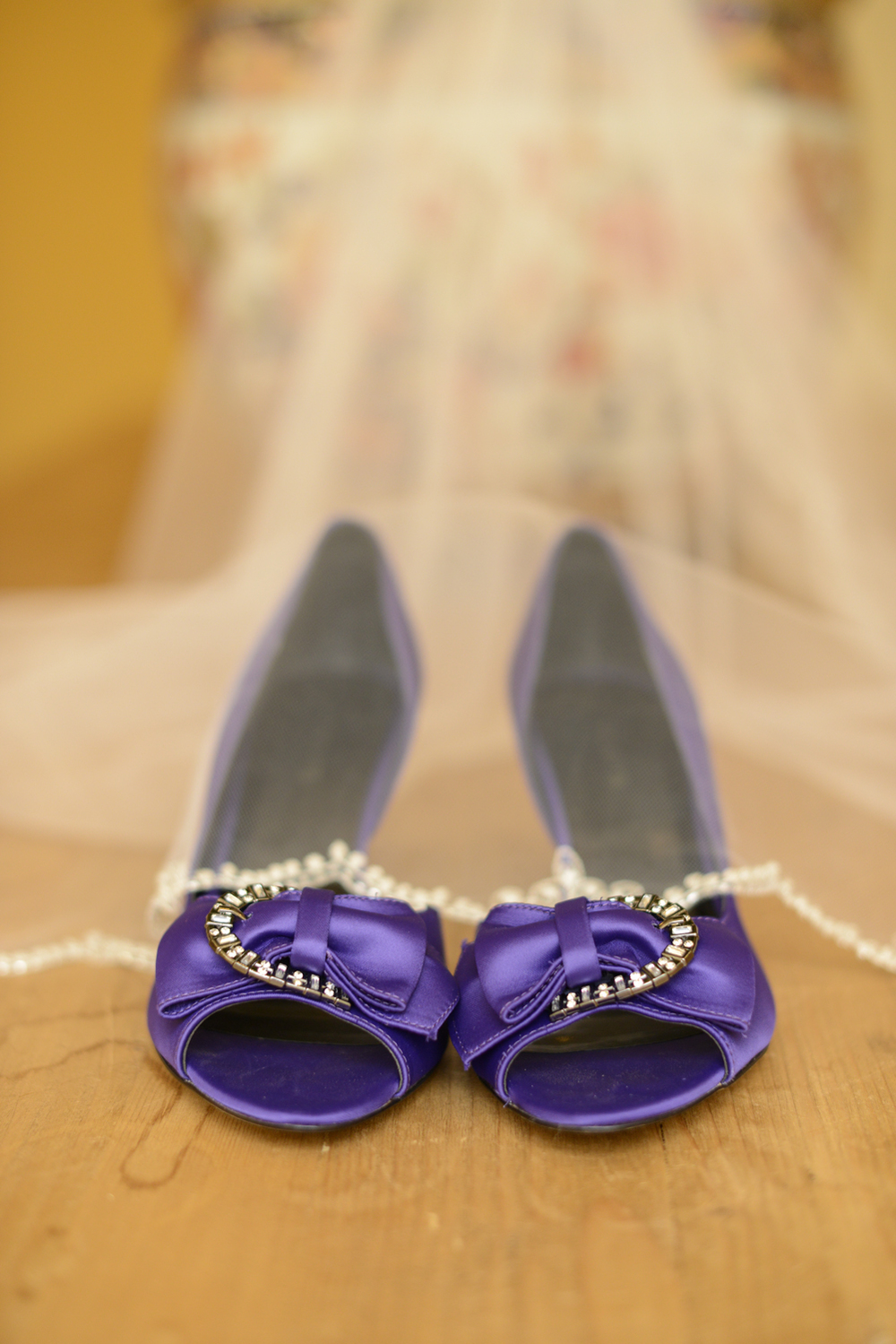 Bride's purple Ravens shoes | Maria Grace Photography