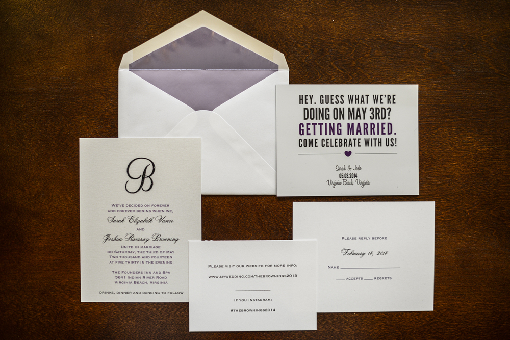Purple fun wedding invitations | Maria Grace Photography