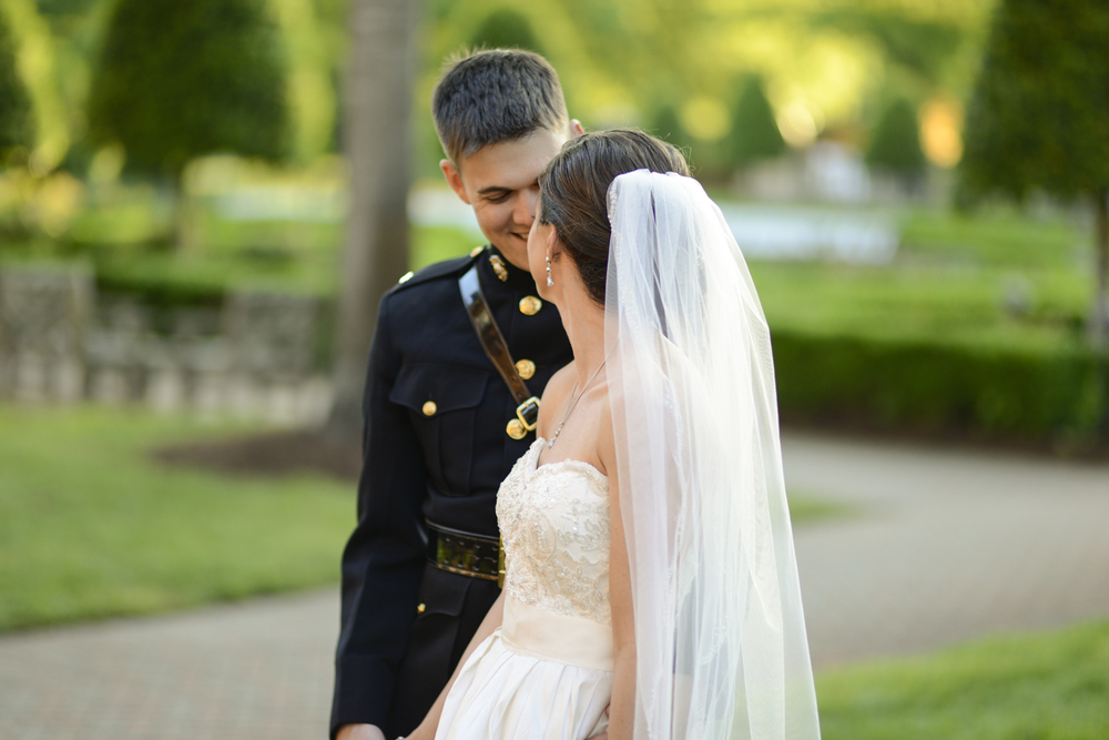 Bride and groom share a sweet moment after the ceremony | Maria Grace Photography