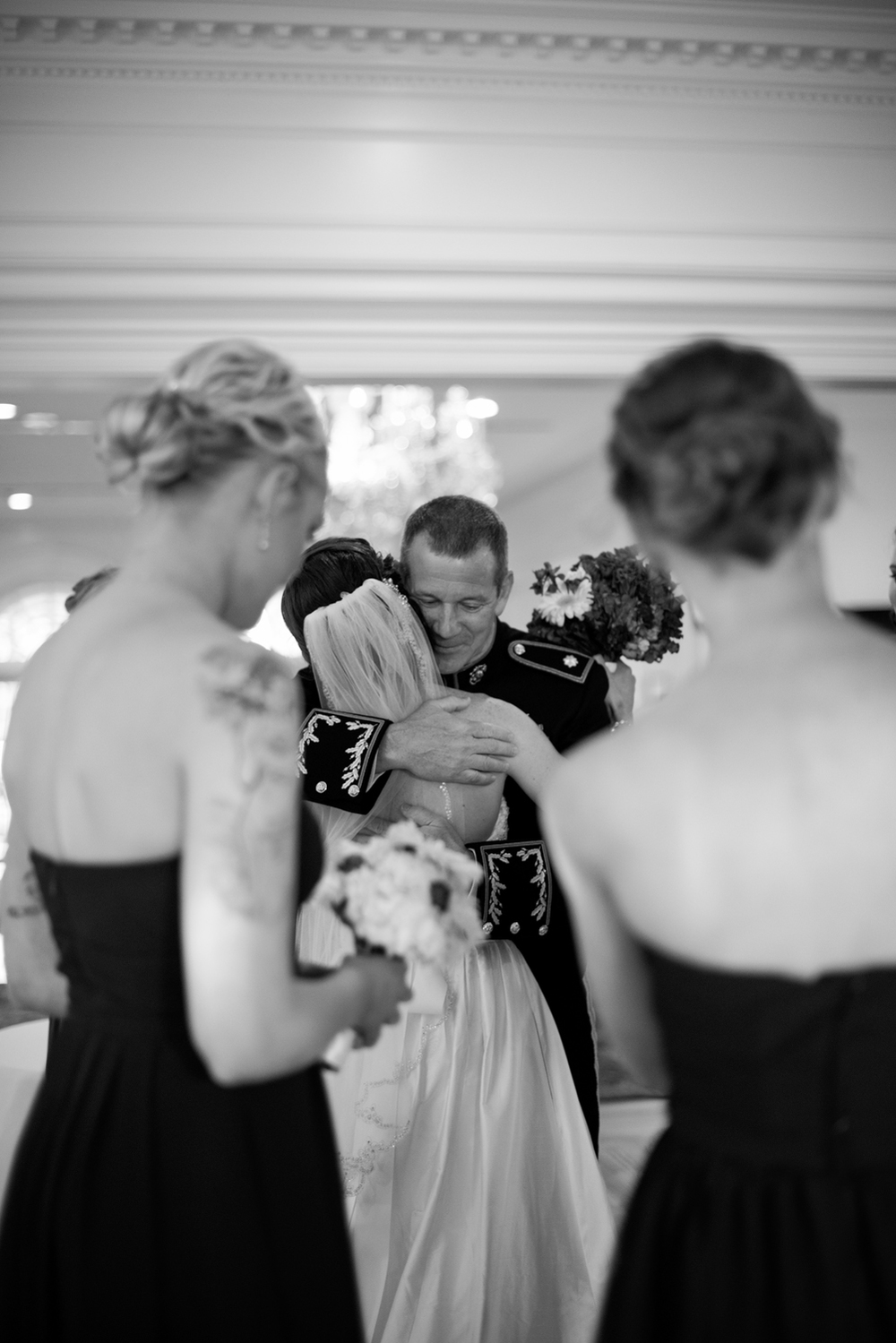 Bride and her father share a special moment together, black and white | Maria Grace Photography