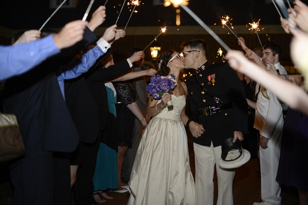 Bride and groom sparkler exit | Maria Grace Photography