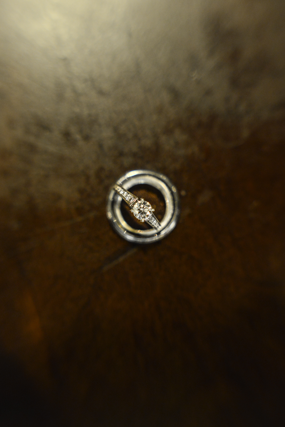 Wedding ring shot on a wooden table | Maria Grace Photography