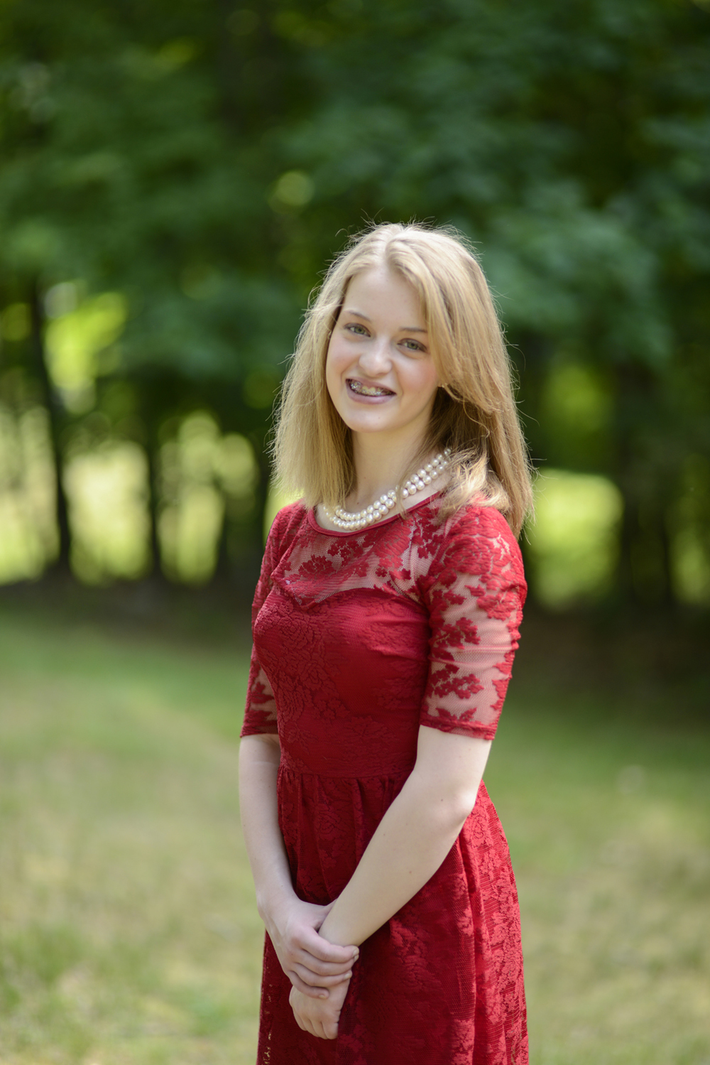 High school senior portraits in bold red dress | Maria Grace Photography