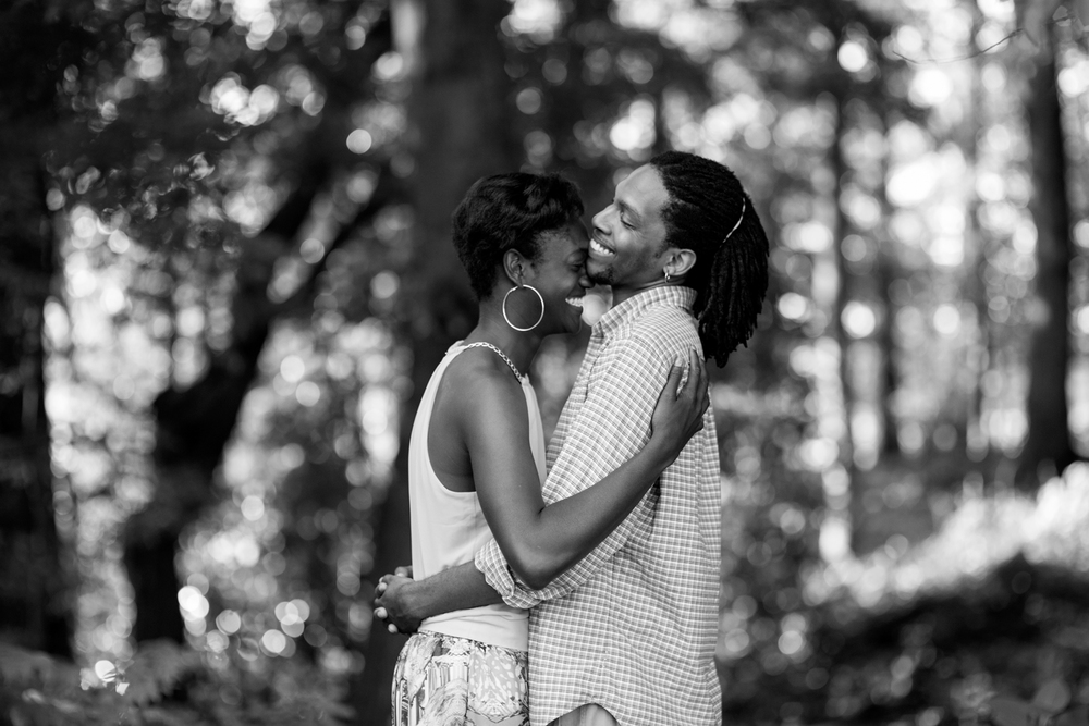 Anniversary portrait session at sunset in the woods of Suffolk, Virginia (black and white)