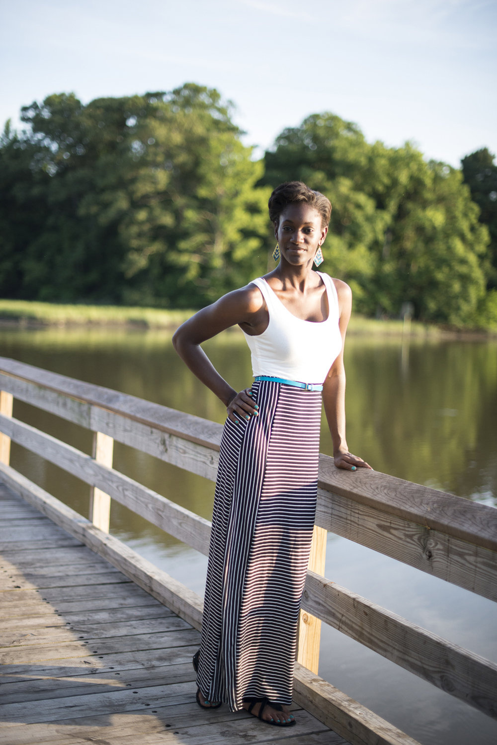 Model headshot by the water at sunset in Suffolk, Virginia