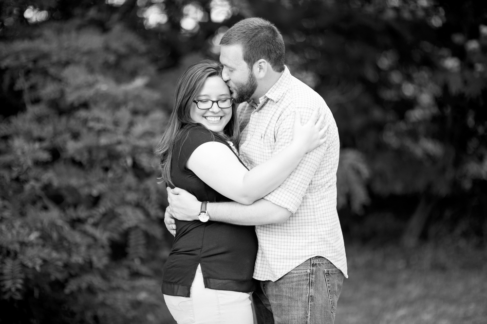 Intimate engagement pictures at Lions Bridge Park in Newport News, Virginia (black and white)