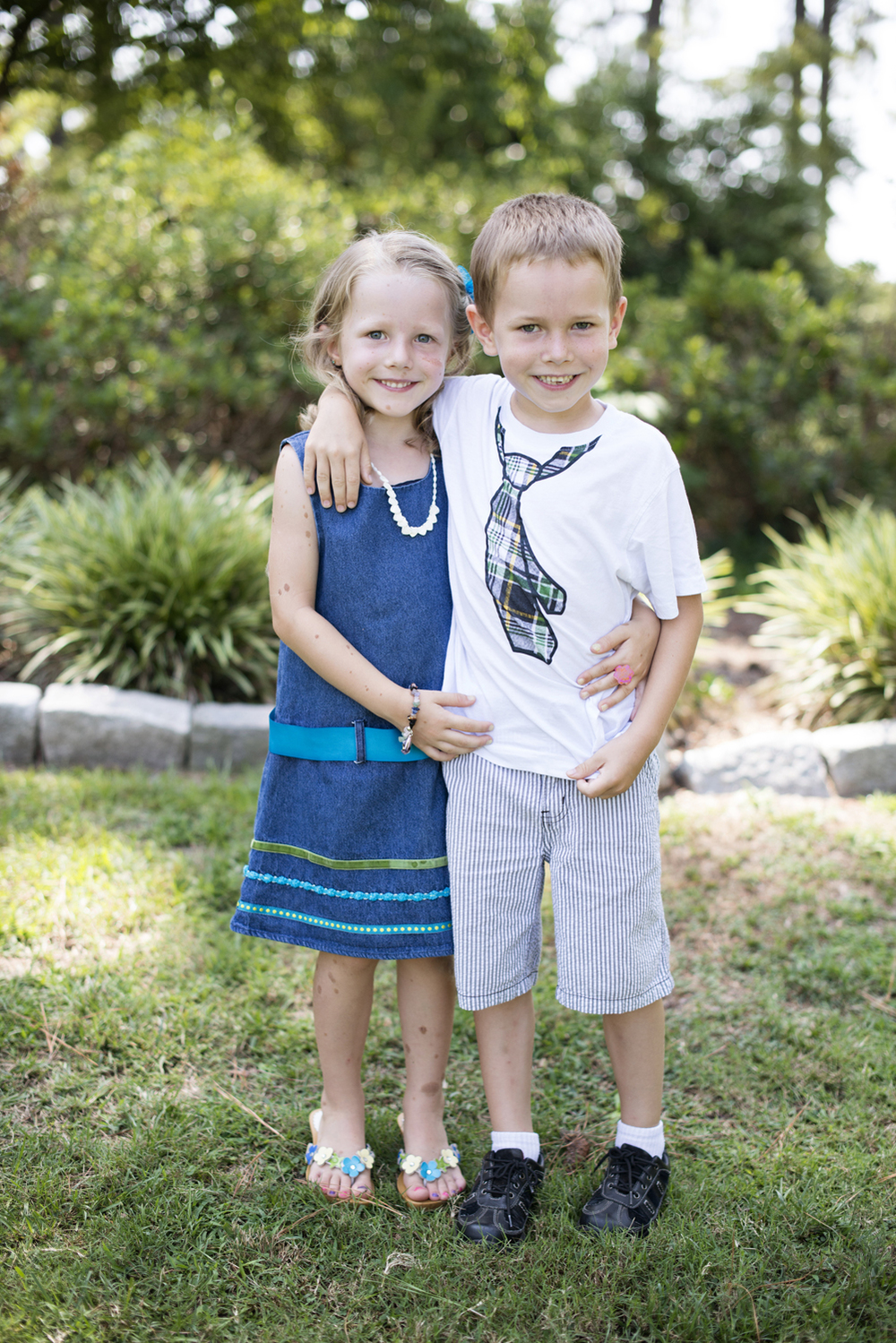 Adorable brother and sister at  family portraits in Portsmouth, Virginia