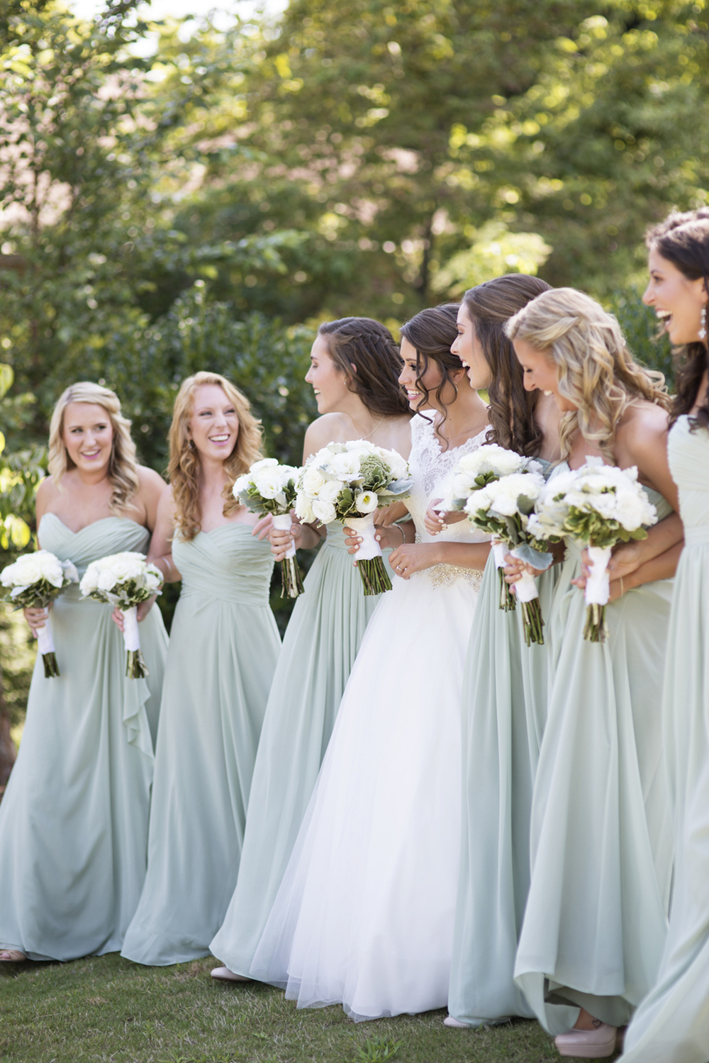 Bridal party portraits in mint green and ivory white dresses  | Portsmouth Woman's Club in Virginia