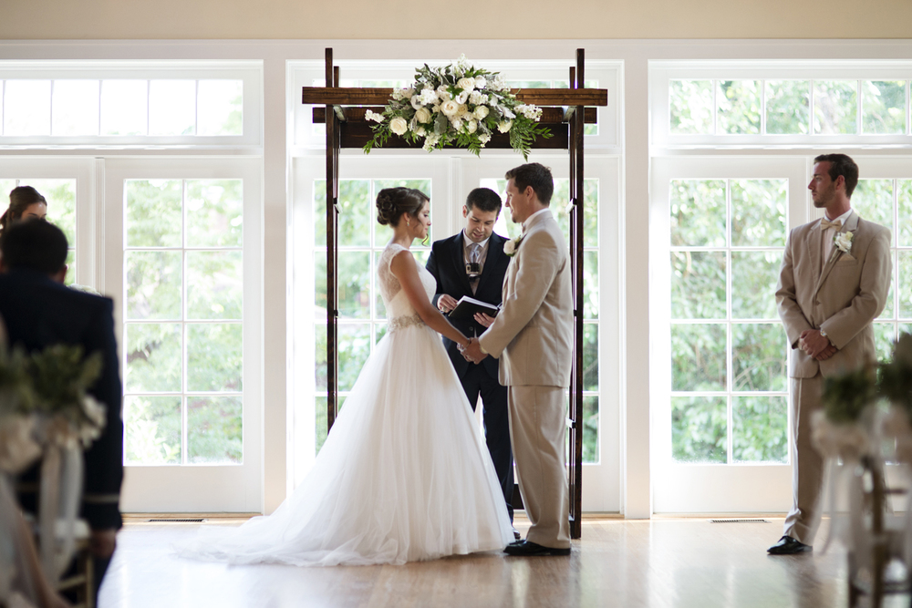 Bride and groom at the altar  | Portsmouth Woman's Club in Virginia