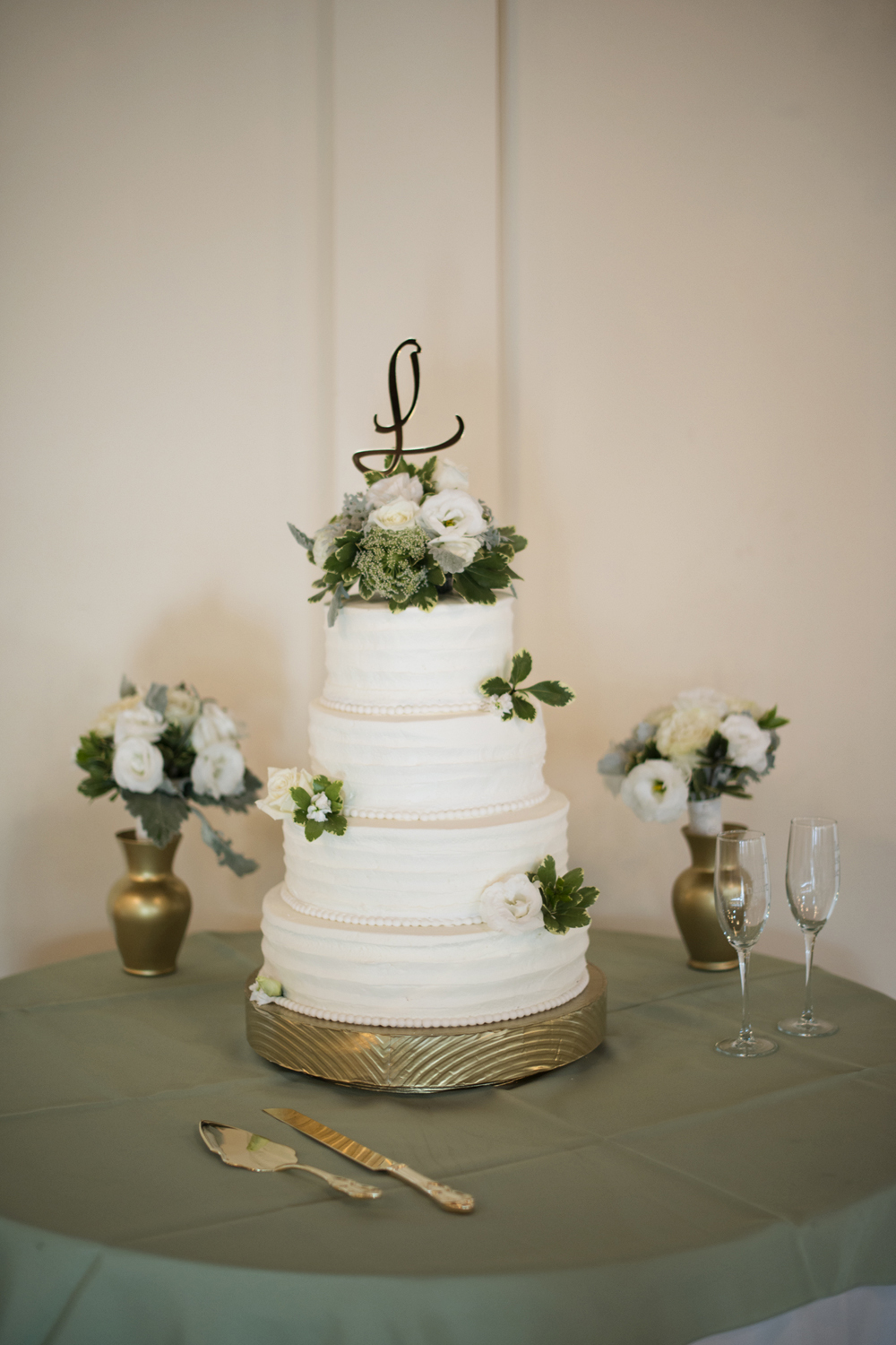 Mint green and white wedding cake with gold cake stand  | Portsmouth Woman's Club in Virginia