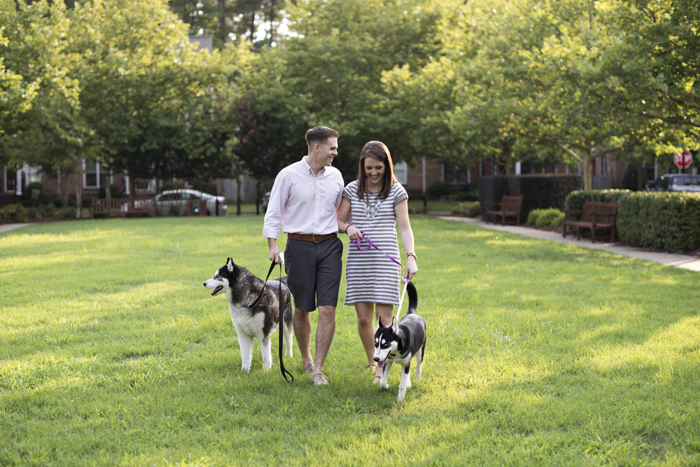 Anniversary session pictures with Husky dogs in Port Warwick, Newport News, Virginia