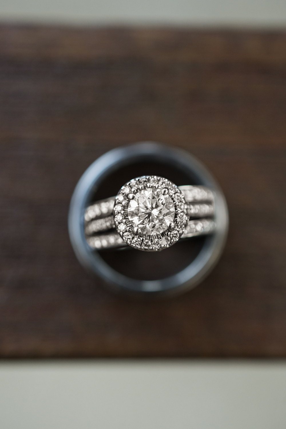 Stunning ring picture on dark wood