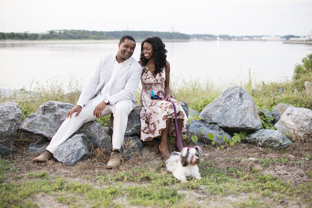 Sunrise  engagement portraits with a cute puppy at East Beach in Norfolk, Virginia