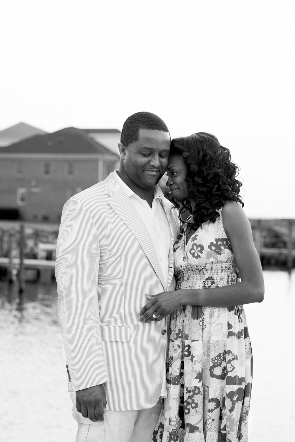 Sunrise  engagement portraits at East Beach in Norfolk, Virginia (black and white)