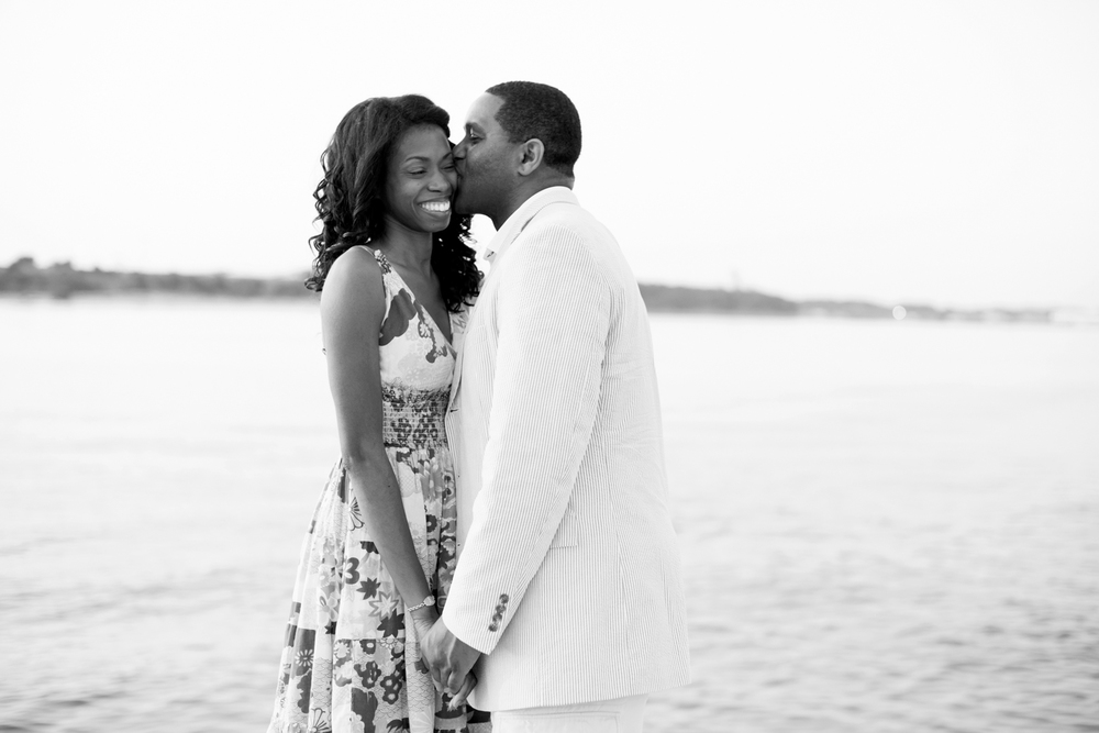 Natural Sunrise  engagement portraits at East Beach in Norfolk, Virginia (black and white)