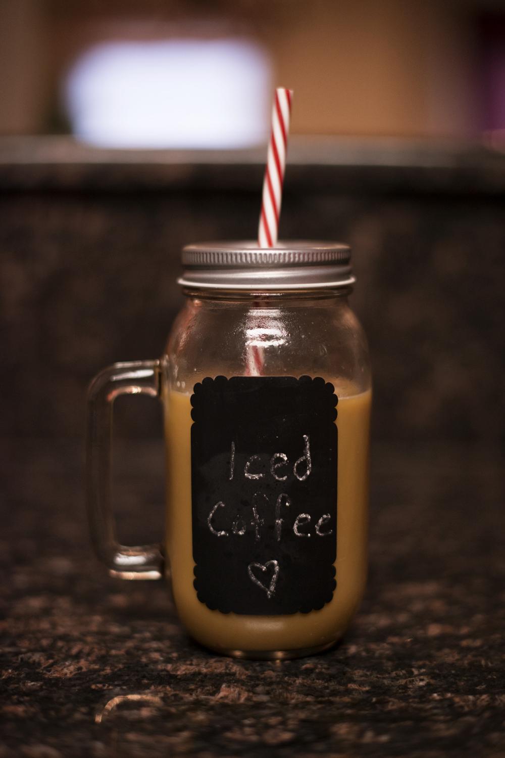 Iced coffee | Hobby Lobby chalkboard mason jar