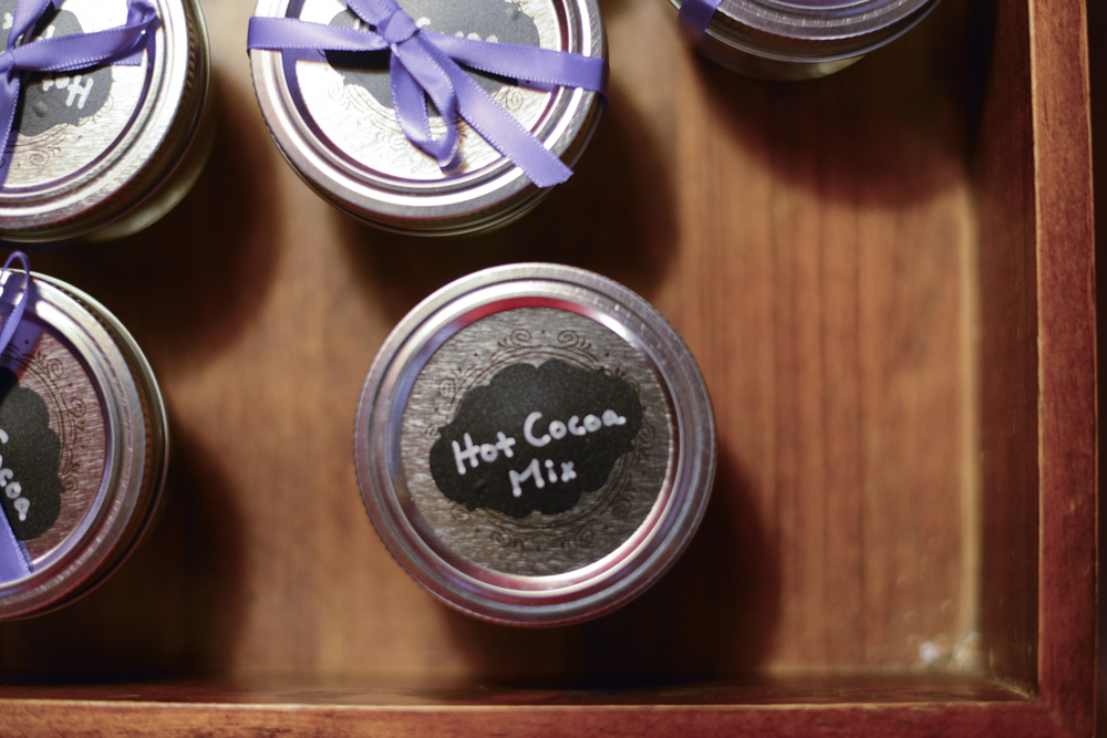 Chalkboard bridal shower hot cocoa mix favors