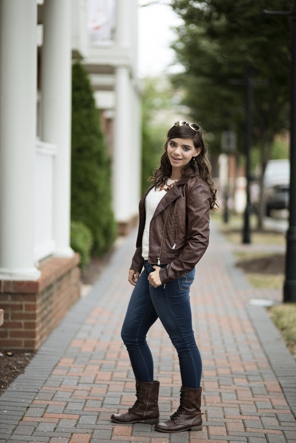 Downtown Hampton, Virginia senior portraits | leather jacket and sunglasses