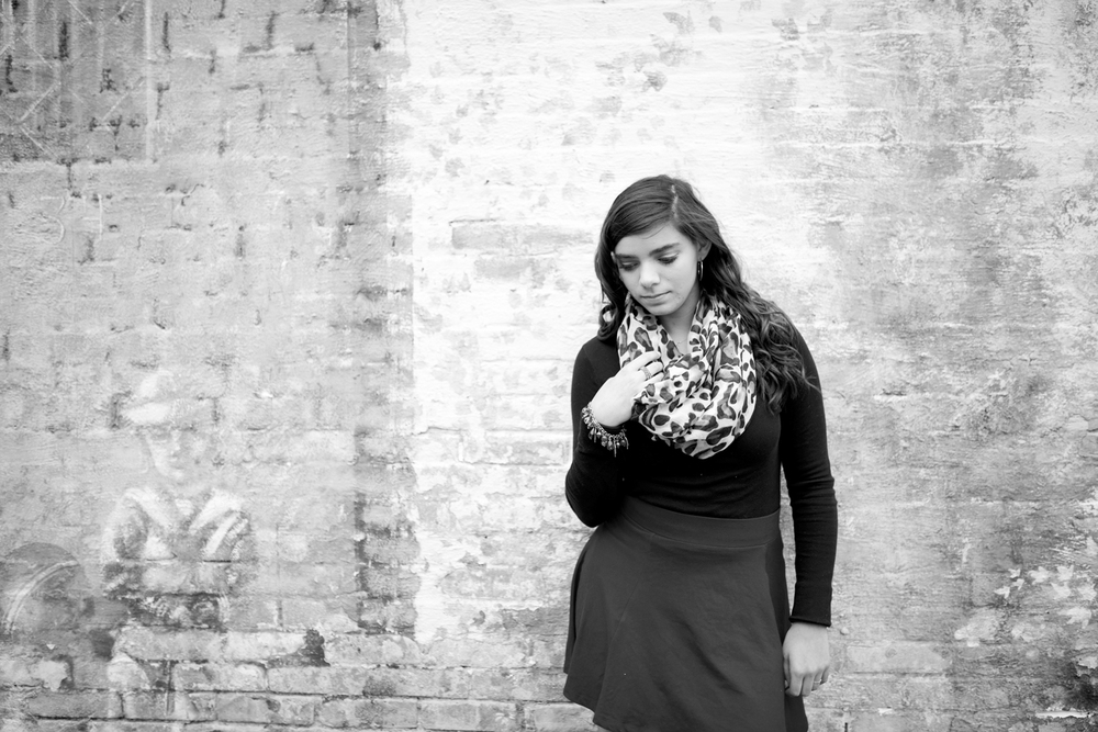 Downtown senior portraits on a graffiti wall in Hampton, Virginia (black and white)