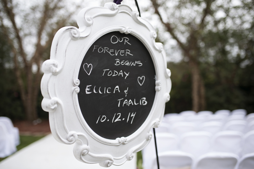 Cute chalkboard wedding ceremony sign