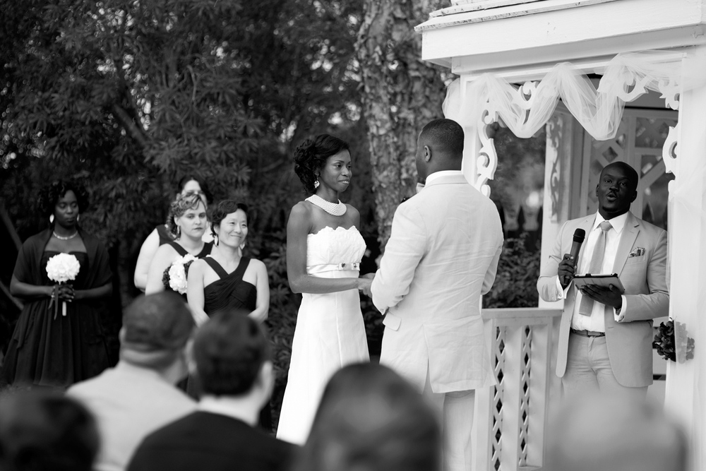 Bride and groom at their outdoor gazebo wedding ceremony
