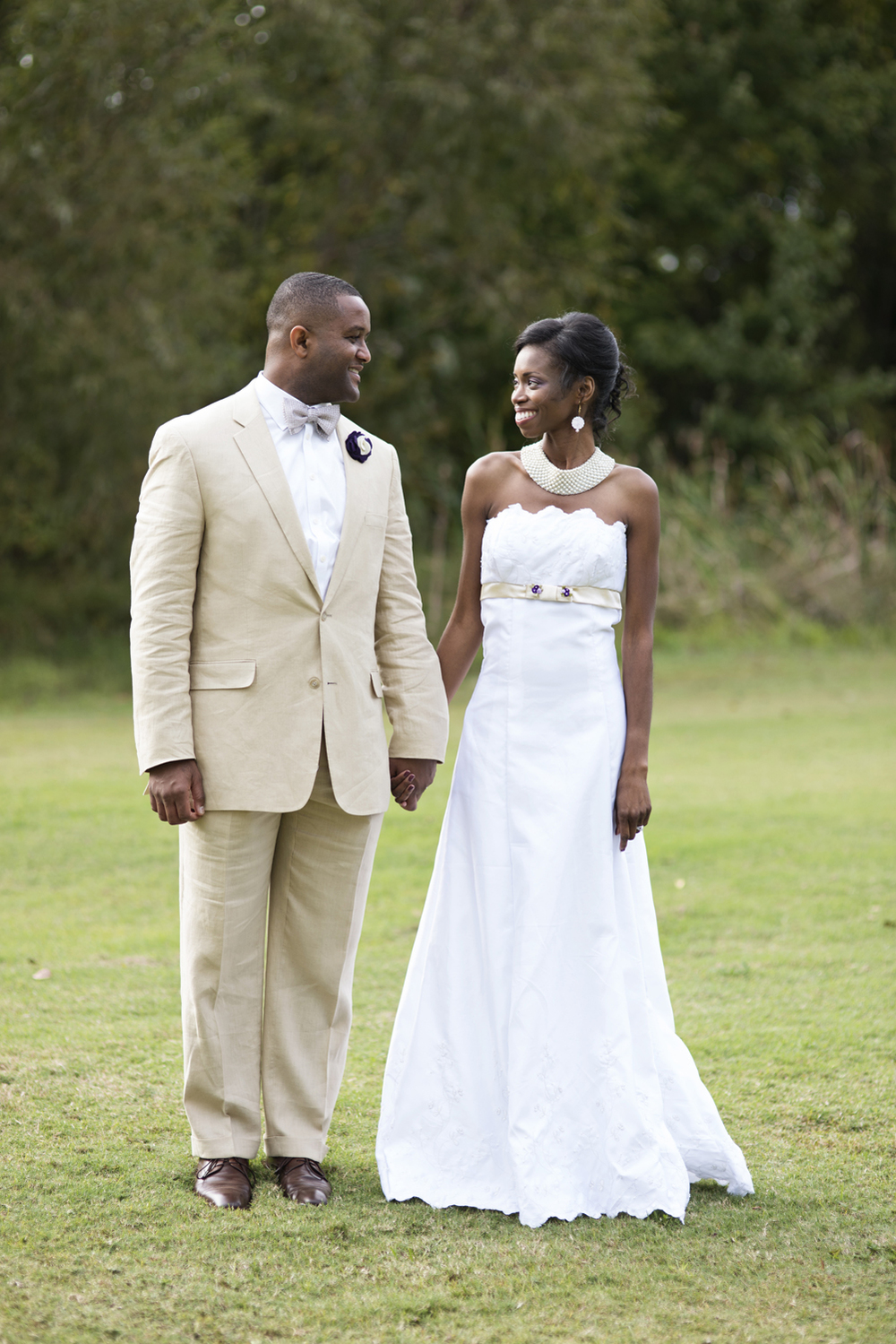 Bride and groom gaze at each other after their October wedding in Chesapeake, Virginia