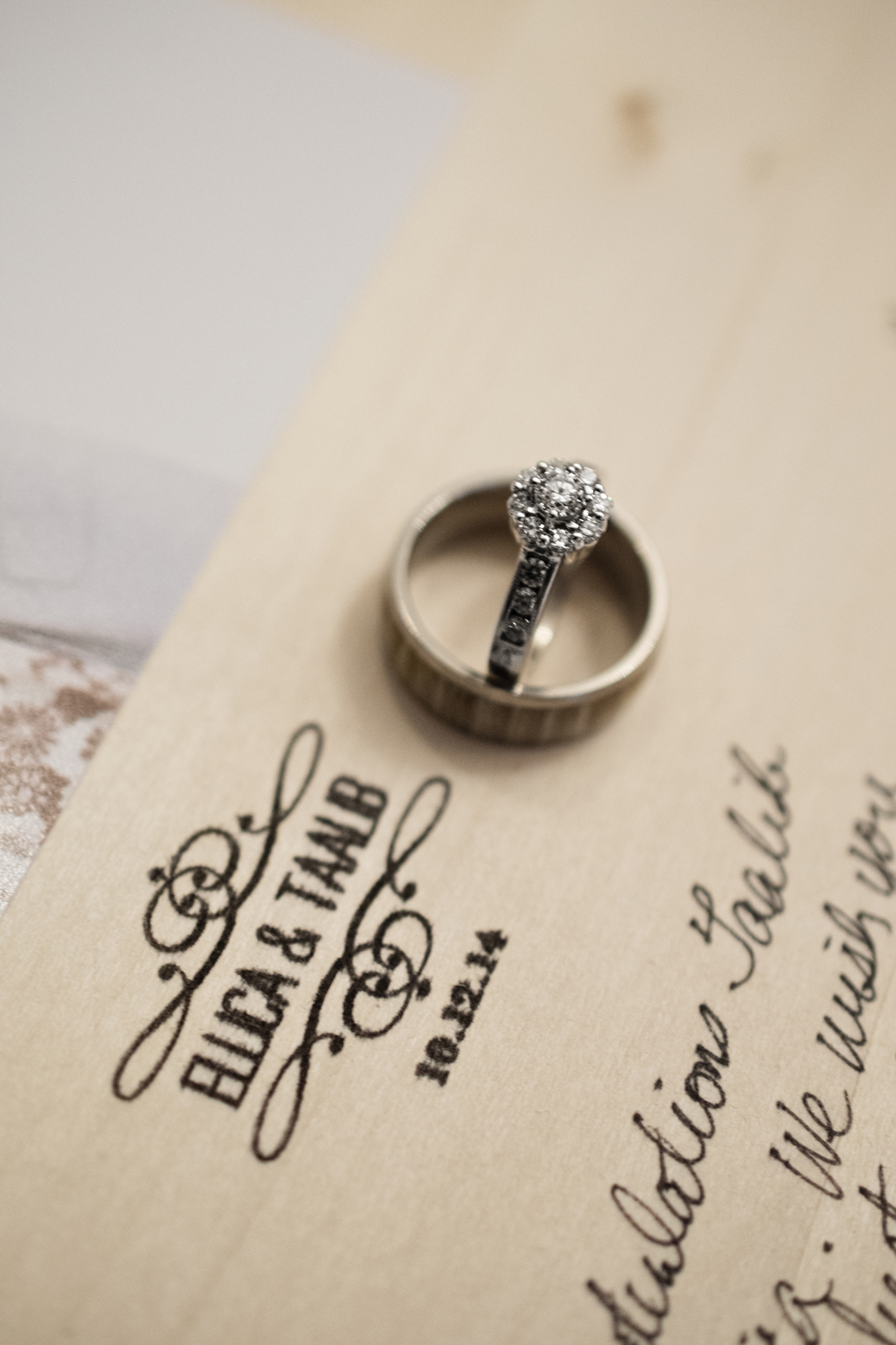 Ring picture on a picture frame with wedding date
