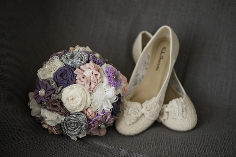 Purple and lavender handmade cloth flower bouquet with bridal ballet slippers