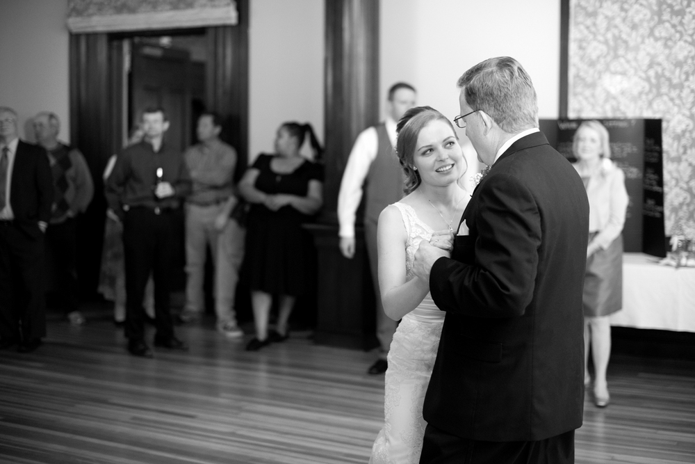 Bride and her dad during their father daughter dance (black and white)