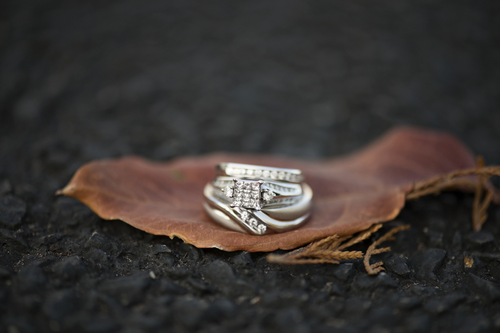 Ring shot on a fall leaf
