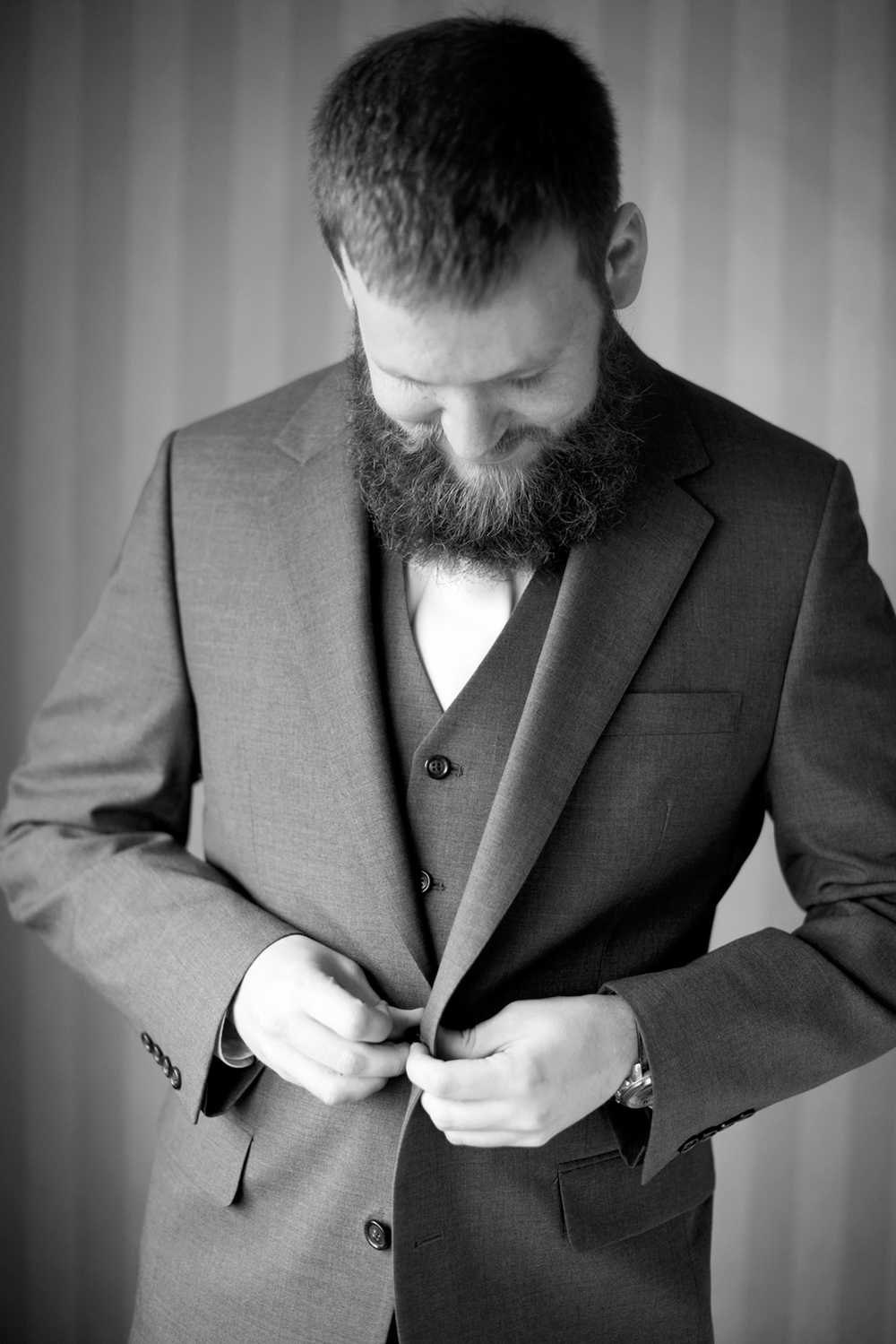 Groom getting ready picture (black and white)