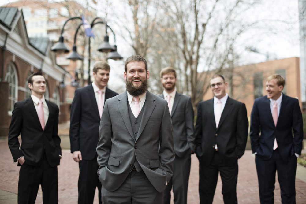 Groomsmen portraits at the downtown outdoor mall in Charlottesville