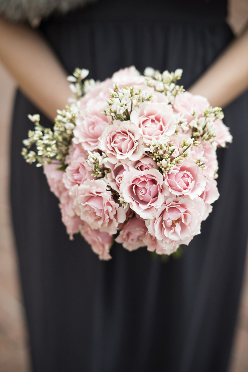 Pink bridesmaid bouquet with baby's breath