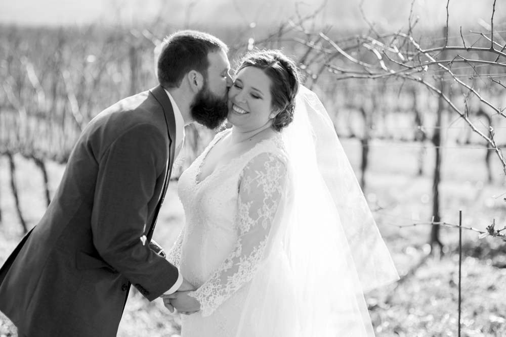 Bride and groom portraits at a wine vineyard (black and white)