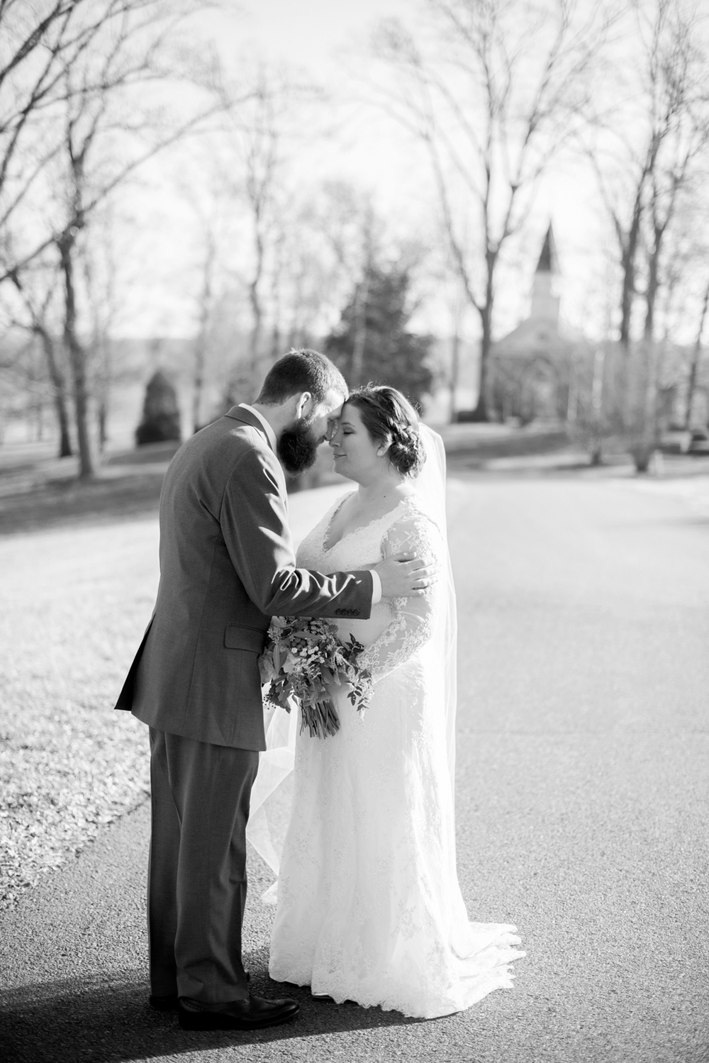 Bride and groom intimate black and white portraits