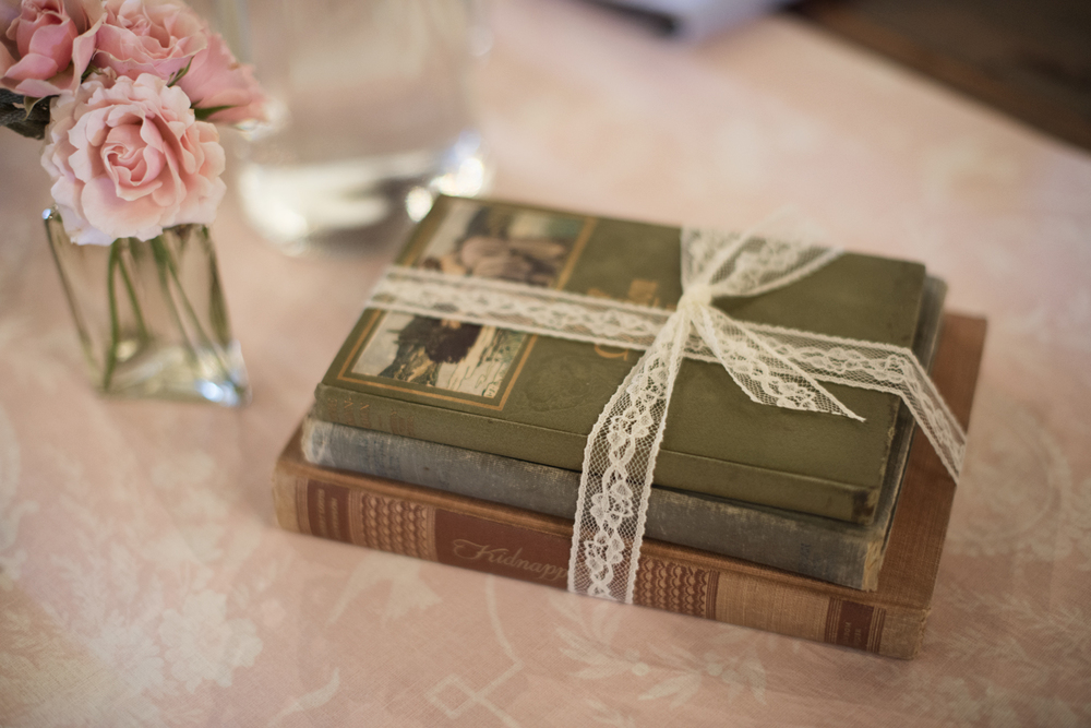 Jane Austen themed wedding with vintage books