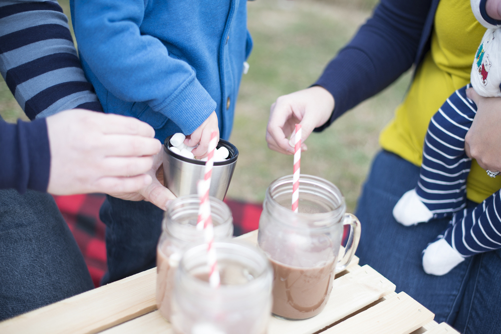 Cute family portrait ideas with hot chocolate in February
