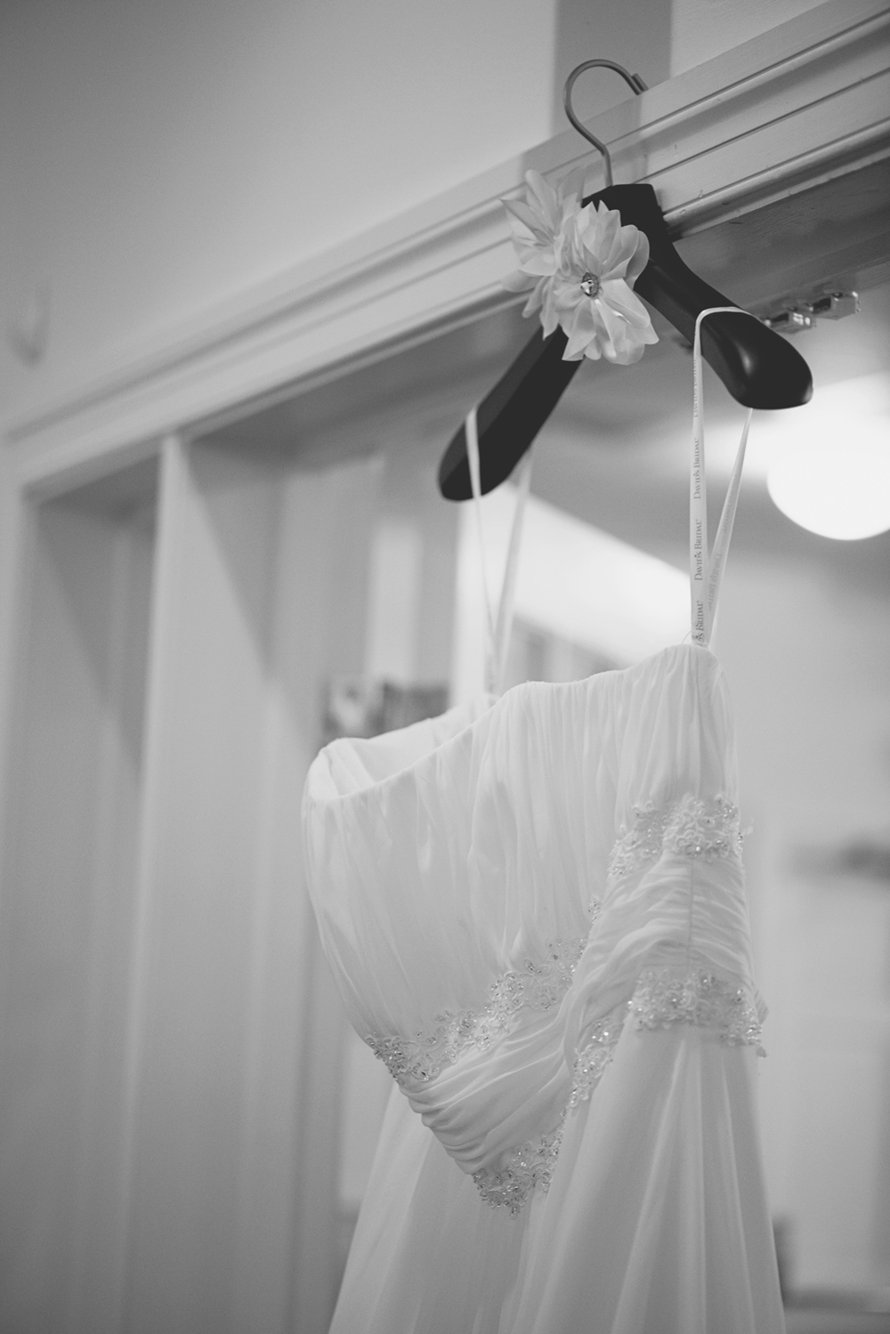 Wedding dress details with handmade hanger (David's Bridal) (black and white)