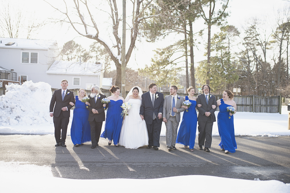 Casual, natural bridal party portraits | Winter wedding
