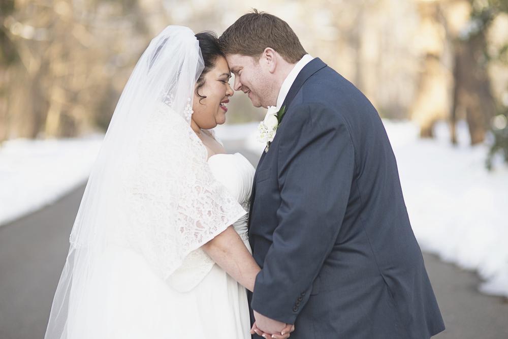 Snowy bride & groom portraits | Winter wedding