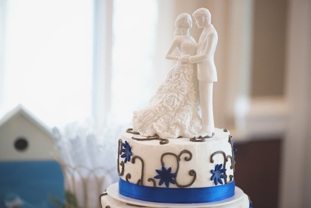 Bride & groom cake topper | Blue, brown, and white | Winter wedding