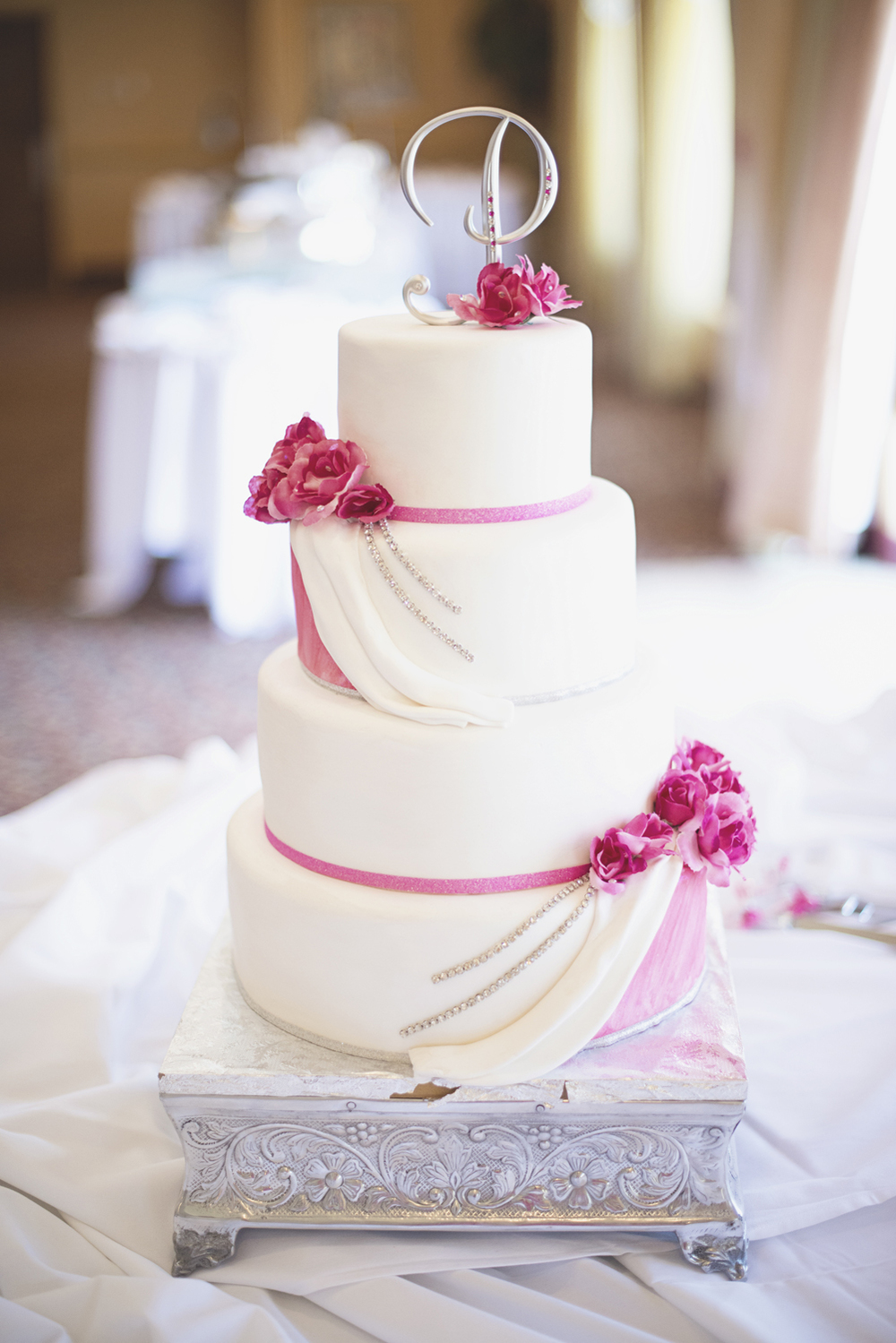 Pink, white, and silver wedding cake | Cake Delights
