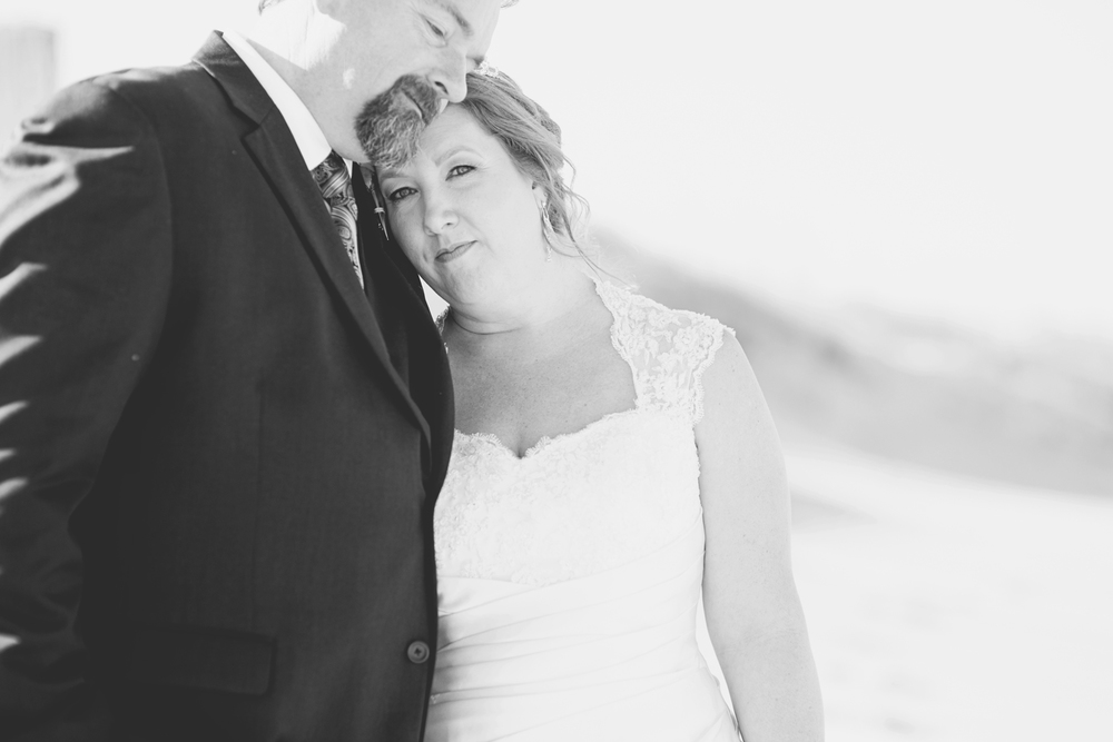 Beach bride and groom portraits | Virginia Beach wedding | Black and white