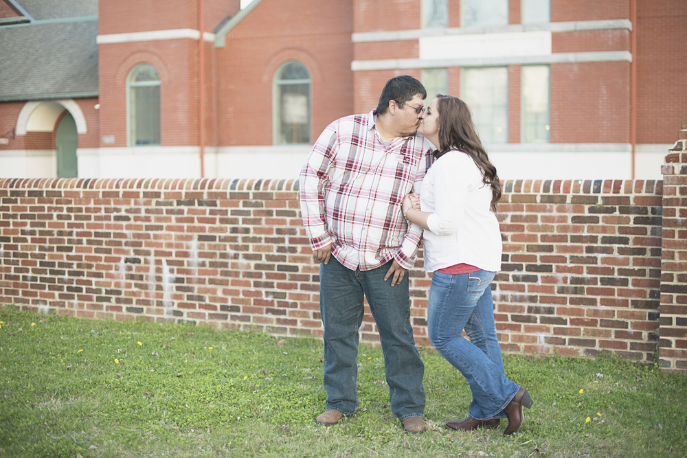 Engagement session in front of a church | Downtown engagement session